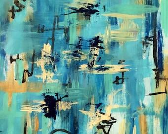 Original abstract art 14 x 16 acrylic
