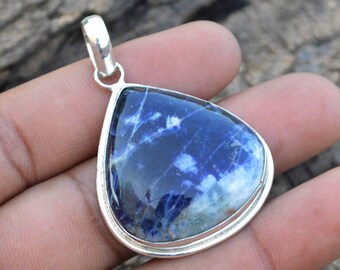 Natural Pear Blue White Sodalite Gemstone Pendant, 925 Sterling Silver Pendant, Sodalite Pendant, Bezel Set Pendant ,Sodalite Necklace Chain