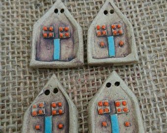 Set of Four Handmade ceramic house shaped buttons/Craft buttons/Bespoke buttons/Crochet/Knitting/Scrapbooking/Sewing/Fashion.