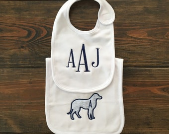 Gingham Dog Monogrammed Bib Set