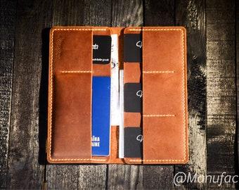 Travel case, long wallet, real leather wallet, handmade wallet, big wallet, women wallet