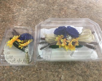 Country Harvest corsage and boutonnière set