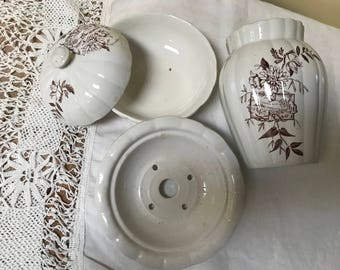 Brown White Transferware Ironstone Soap Dish Toothbrush Holder Victorian Bathroom Transfer ware Country Cottage Chic