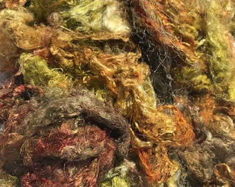 Hand Dyed Silk Mulberry Throwster Fiber for Felting, Spinning, Knitting. (TAN, CLAY and GOLD).