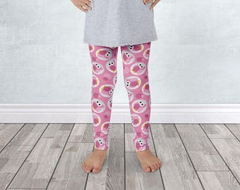 Cute Owl Kids Leggings - Pink Funny Cute Owl Pattern - for 1 to 7 years old - Made to Order