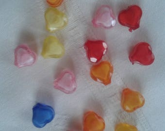 set of 31 beads hearts of different colors, ideal for your creations