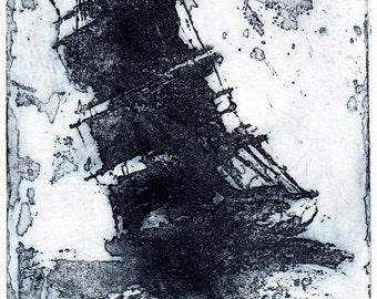 Dark Blue Ship in Distress, on white Rives BFK
