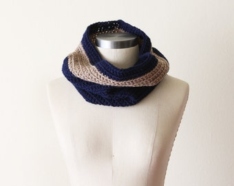 Cozy Cowl in Navy and Oatmeal - SALE