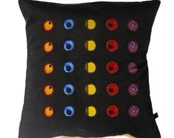Black Pillow / Velvet Cushion / Arty Scatter Pillow / Dot Pattern Cushion/ Funky Pillow