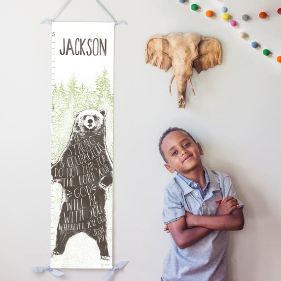 Brown bear canvas growth chart with Joshua 1:9