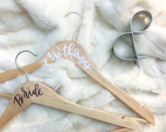 Custom Calligraphy Wedding Hangers, Bridal Party Hangers, Personalized Dress Hanger, Bridal Accessories, Bridal Dress Hanger