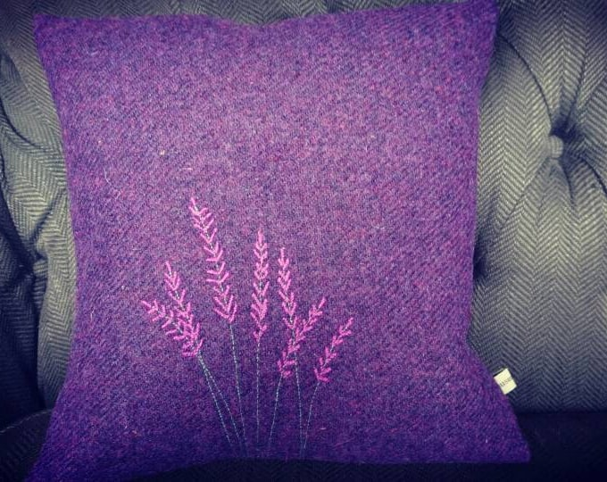 Hand Crafted Harris Tweed heather cushion cover