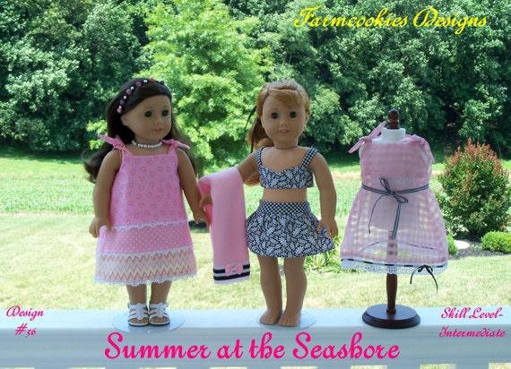"""PDF Sewing Pattern /SUMMER at the SEASHORE / 1950's-1960's  Style Pattern Fits American Girl® or Other 18"""" Doll"""