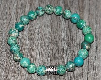 Genuine Green Jasper Bracelet, Imperial Green Sea Sediment Bracelet, Yoga Bracelet, 7 Chakra Bracelet, 8mm Meditation Bracelet, Layering