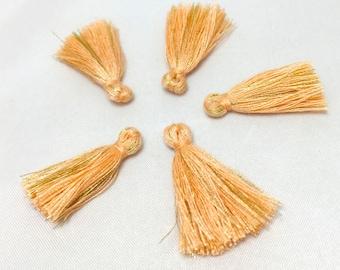 5 small PomPoms cotton imitation - orange salmon, gold - 28 mm