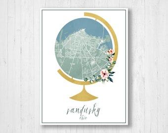 Sandusky, Ohio, Street Map, Sandusky City Map, Globe Art, Globe Map, Watercolor, Map Print, Map Decor, City Street Map, Map of Sandusky