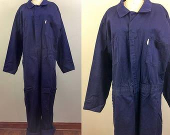 Vintage Blue WORKWEAR Coveralls Jumpsuit Boilersuit XL