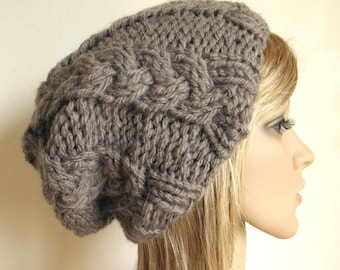 Cabled slouchy hat in taupe chunky cables hand knit warm luxurious wool mohair blend brown grey knitted men women teen beanie READY MADE