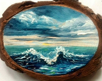 "Mini Oil Painting Sailing Away on Wood Slice 3.75"" x 4.5"" READY TO SHIP"