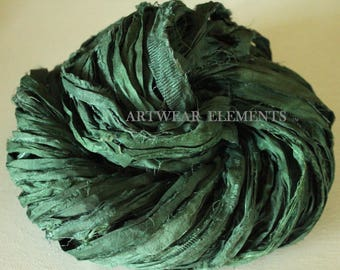 Medium Green Kale, Fair Trade, Per Yard Or Skein, Pure Sari Silk, Textile, Knitting Yarn, Yarn, Ribbon, Silk, Green, ArtWear Elements, 150