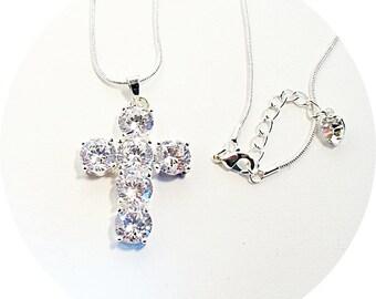Cross Pendant Necklace, Bridal Cross, Christian Jewelry, Wedding Cross, Cubic Zirconia, Cross Necklace, Confirmation, Sparkly Cross