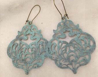 Frosty Blue Patina Filigree Dangle Earrings  Bohemian Jewelry  Scalloped Metal Filigree Lightweight Statement Earrings Shabby Chic Earrings