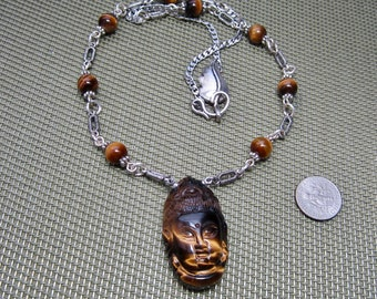 Buddha And Tiger Eye Necklace