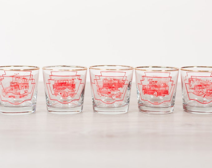TTC Cocktail Glasses - 5-Piece Set of Red Detailed Vintage Toronto Lowball Gold Rimmed Drinking Glasses -Old Fashioned Streetcars and Subway