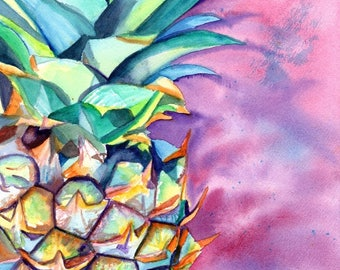 Pineapple 8x10 art prints, Pineapples, Hawaiian Pineapple Art, Pineapple artwork, Pineapple decor, Pineapple design, Hawaii art, oahu, maui