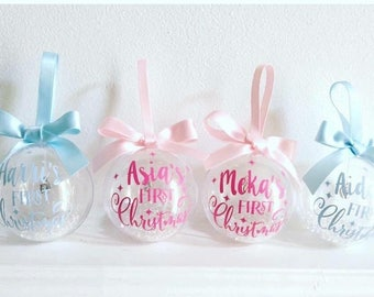 Gorgeous Baby's First Christmas Personalised Christmas Bauble