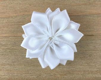 White Satin Ribbon Pinwheel Flower, White Pinwheel Hair Flower, DIY headband supplies, DIY hair bow flower, DIY hair clip, hair flower