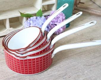 Set of 4 Vintage French Red & White Enamel Saucepans - BB Freres