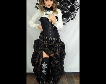 Ready to ship Black Satin Corset with BROWN/BLACK Damask Bustle Skirt, Victorian, Cosplay, Dress, Steampunk outfit costume