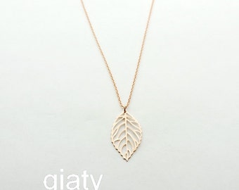Rose Gold Leaf Necklace - Dainty Necklace, Rose Gold Necklace, Gift For Mom, Everyday Necklace, Leaf Necklace, Bridesmaid Necklace