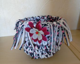 Hand crocheted basket storage basket bathroom home decor with Jersey recycled