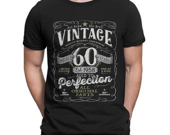 60th in 2018 Birthday Gift For Men and Women - Vintage 1958 Aged To Perfection Mostly Original Parts T-shirt Gift idea.  V-60-1958