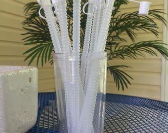 """Set of 10 White Straw Caps with 9"""" Flexible Straws"""