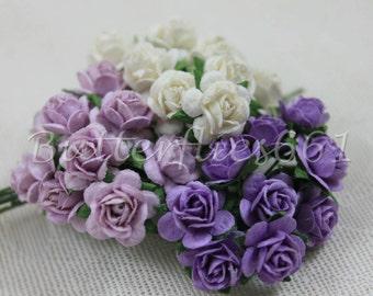 30 Mini Mixed Purple White Handmade Mulberry Paper  Wedding  Scrapbooking Roses M-185