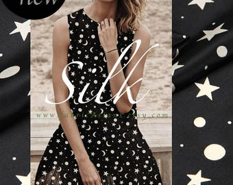 Moon stars fabric Black Silk Crepe