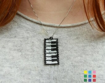 Piano Beaded Necklace, Piano Miyuki Pendant, Handmade piano necklace, piano miyuki necklace, piano jewelry, music jewelry