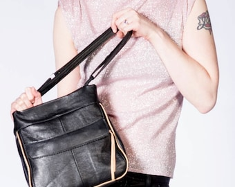 The ALICE BAG in Re-purposed Luxuriously Soft Black Leather with Adjustable Strap and Exterior Zip Pocket-Made to order