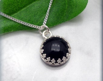 Black Onyx Necklace, Gemstone Jewelry, Cabochon Necklace, Gemstone Necklace, Onyx Jewelry, Minimalist Necklace, Sterling Silver