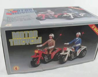 Vintage battery operated police motor tricycle toy new in the box Hong Kong