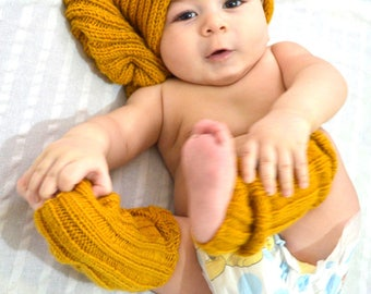 Mustard Hat and Gloves set // Mustard  Winter Lace Slouch Hat and Fingerless Gloves ,Winter Accessories Winter Fashion