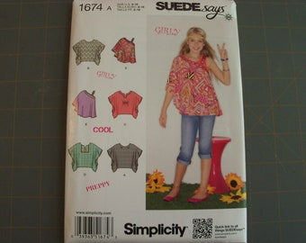 Simplicity 1674 Girls Tops Sizes 8-16 NEW sewing pattern
