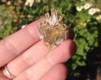 Rutilated Quartz with Moonstone wire wrapped pendant