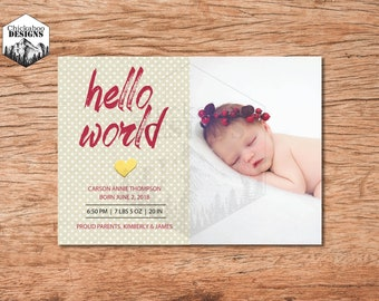Hello World- Baby Birth Announcement- Girl