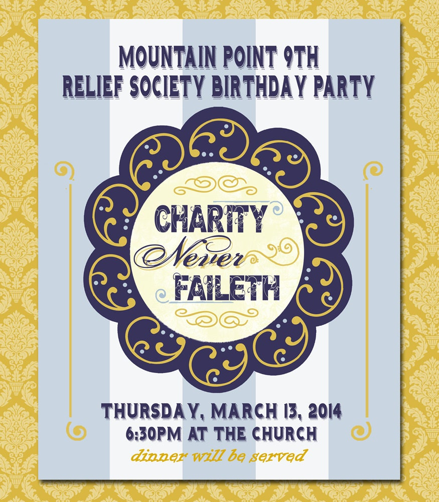 Printable Relief Society Birthday Party Poster Charity Never
