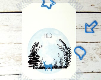 Woodland Deer Print Postcard,  Forest Postcard Stationary
