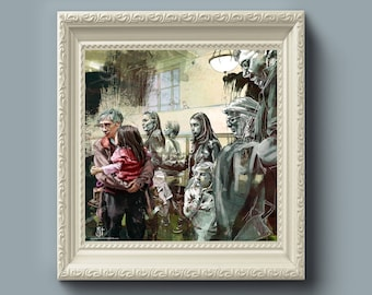 Untitled Stares Fine Art Painting Print - 10x10, People, Abstract, Crowds, Paint Splatters, Family, Gift for Home, Statement Wall Art